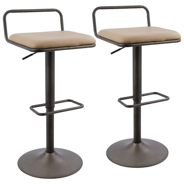Moa Adjustable Height Swivel Bar Stool (Set of 2) by 17 Stories