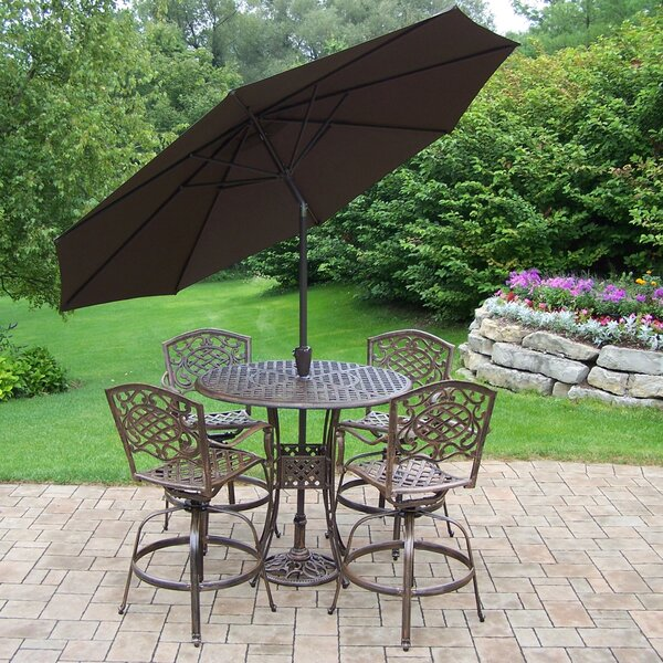 Thelma 6 Piece Bar Height Dining Set with Cushions and Umbrella