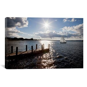 'Sunrise at Crooked Lake, Conway, Michigan 2010' Photographic Print on Wrapped Canvas by Beachcrest Home