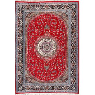 Shop For Almaguer Traditional Floral Classical Mashad Persian Blue/Burgundy Area Rug ByWorld Menagerie