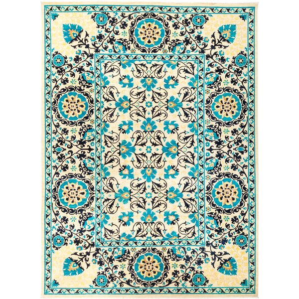 One-of-a-Kind Dewitt Hand Knotted Wool Blue Area Rug by Isabelline
