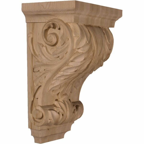 Acanthus 14H x 8 1/2W x 6 1/2D Large Wide Wood Corbel in Cherry by Ekena Millwork
