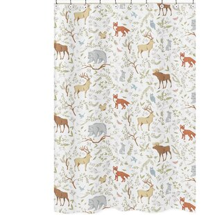 Reviews Woodland Toile Cotton Shower Curtain BySweet Jojo Designs
