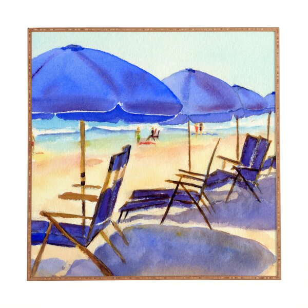Beach Chairs Framed Painting Print by East Urban Home