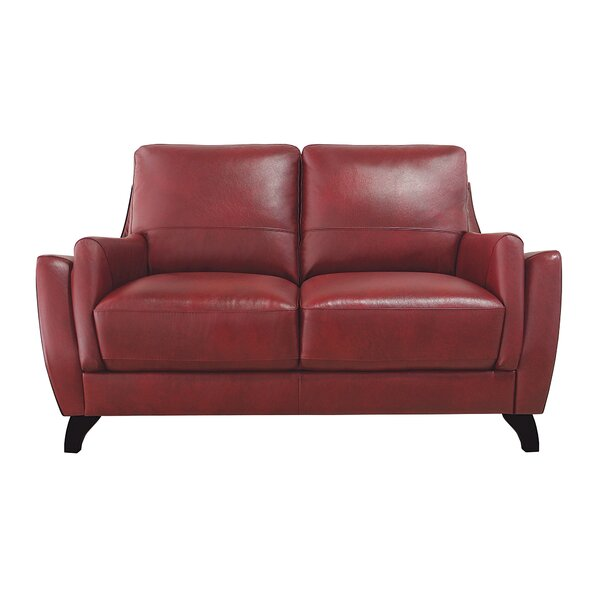 Carrington Leather Loveseat by Brayden Studio