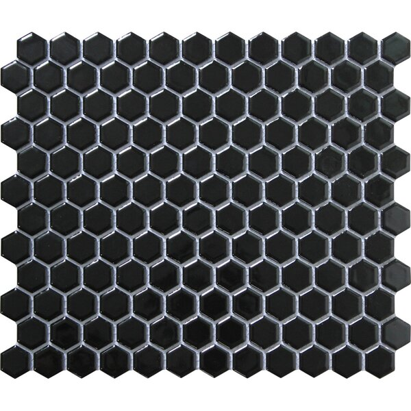 Value Series 1'' x 1'' Porcelain Mosaic Tile in Glossy Black by WS Tiles