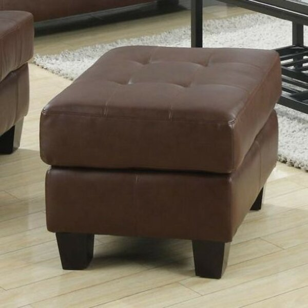 Ptolemy Leather Ottoman by Charlton Home