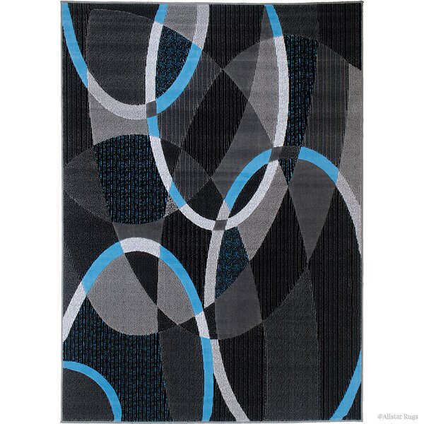 Keeler High Quality Exclusive Drop-Stitch Linear Designed Blue Border Area Rug by Latitude Run