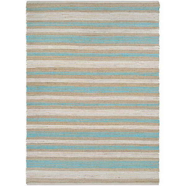 Hansville Awning Stripes Hand-Loomed Straw/Arctic Blue Area Rug by Breakwater Bay
