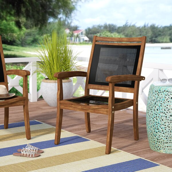Tovar Sling and Eucalyptus Stackable Arm Chair by Beachcrest Home