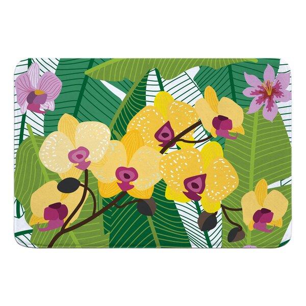 Shiey Orchid Garden Rectangle Memory Foam Bath Rug