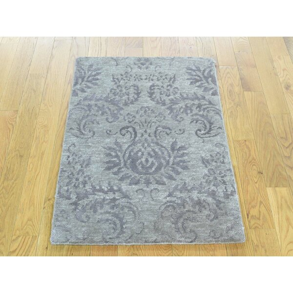 One-of-a-Kind Bean Art Damask Handwoven Grey Silk Area Rug by Isabelline