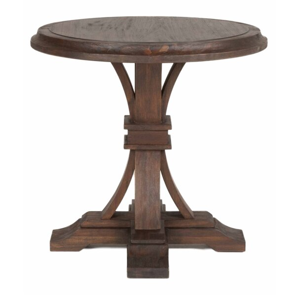 Lucien Graceful Round Wooden End Table by Gracie Oaks