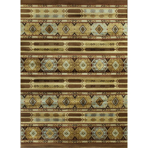 Ikat Brown/Cream Abstract Area Rug by ECARPETGALLERY