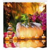 Spa Asian Spa Joy in the Garden with Romantic Candles and Orchids Shower Curtain Set by East Urban Home