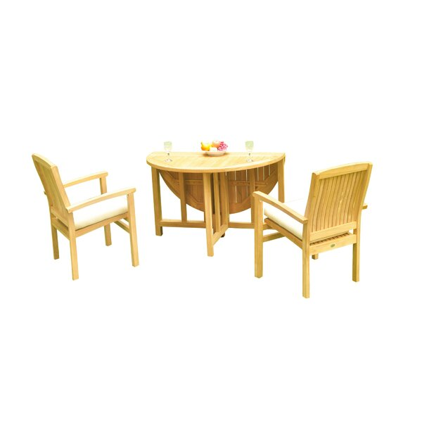 Masuda 3 Piece Teak Bistro Set by Rosecliff Heights