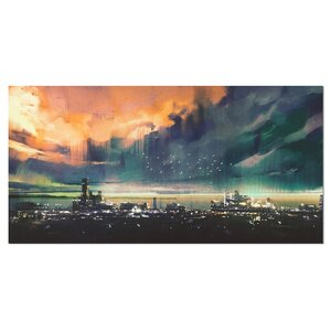Watercolor Abstract Sci-fi City Painting Print on Wrapped Canvas by Design Art