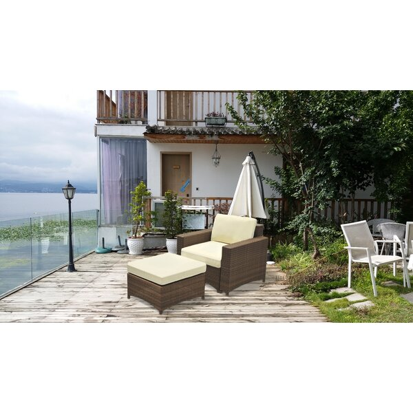 Conrad 2 Piece Rattan Sofa Seating Group with Cushions by Bayou Breeze