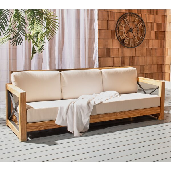 Drye Teak Patio Sofa with Cushions by Highland Dunes Highland Dunes