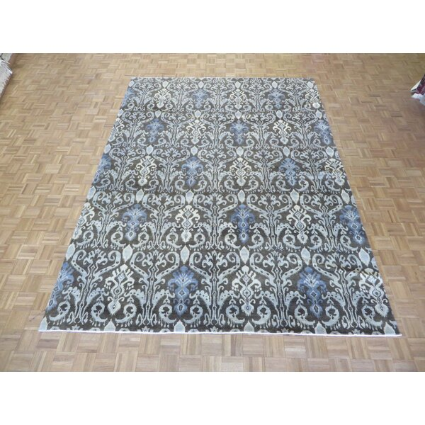 One-of-a-Kind Railsback Ikat Hand-Knotted Rayon from Bamboo Silk Chocolate Brown Area Rug by Astoria Grand