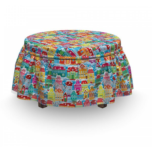 City Ornamental Winter 2 Piece Box Cushion Ottoman Slipcover Set By East Urban Home