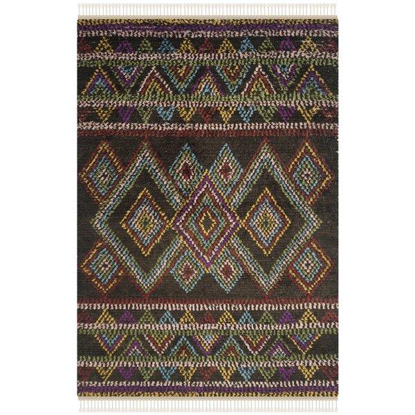 Dakota Fields Glenoe Hand Knotted Cotton Wool Brown Green Purple Area Rug Wayfair