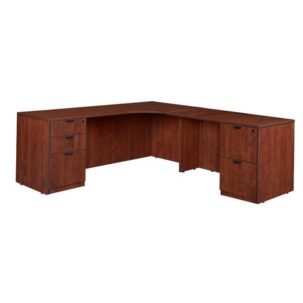 Linh Double Full Pedestal Right Corner Credenza L-Shape Executive Desk by Latitude Run