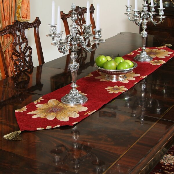 Talus Chenille Floral Table Runner by Bloomsbury Market