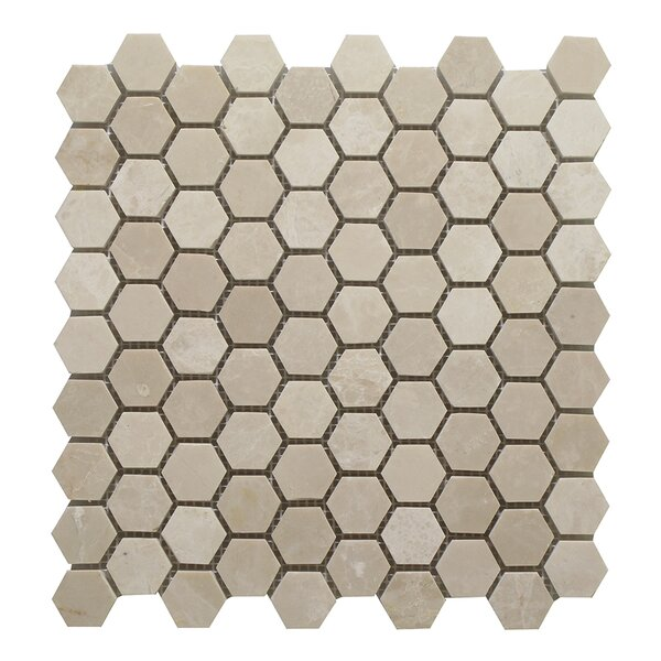 Botticino Honey Comb 1.25 x 1.25 Marble Mosaic Tile In Brown by Seven Seas
