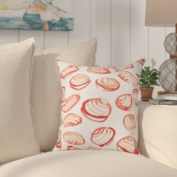 Cedarville Clams Geometric Print Outdoor Throw Pillow by Highland Dunes
