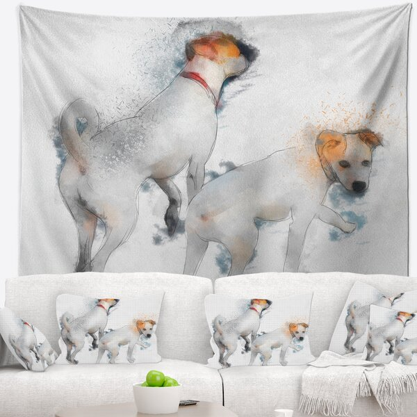 Stylish White Dogs Walking Tapestry and Wall Hanging by East Urban Home