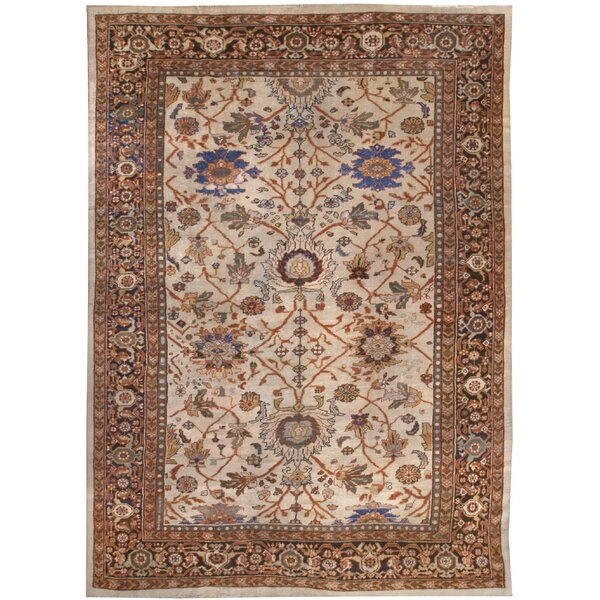 One-of-a-Kind Hand-Knotted Before 1900 Brown/Beige 9' x 12' Wool Area Rug
