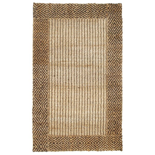 Cabana Braided Border Brown Area Rug by Kosas Home