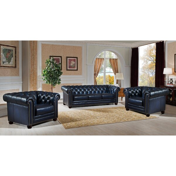 Kraig 3 Piece Leather Living Room Set by Canora Grey