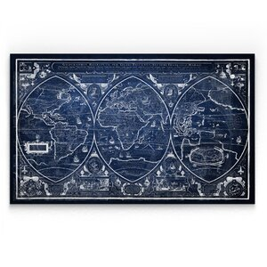 'Vintage Wold Map III' Graphic Art Print on Wrapped Canvas in Blue by Wexford Home