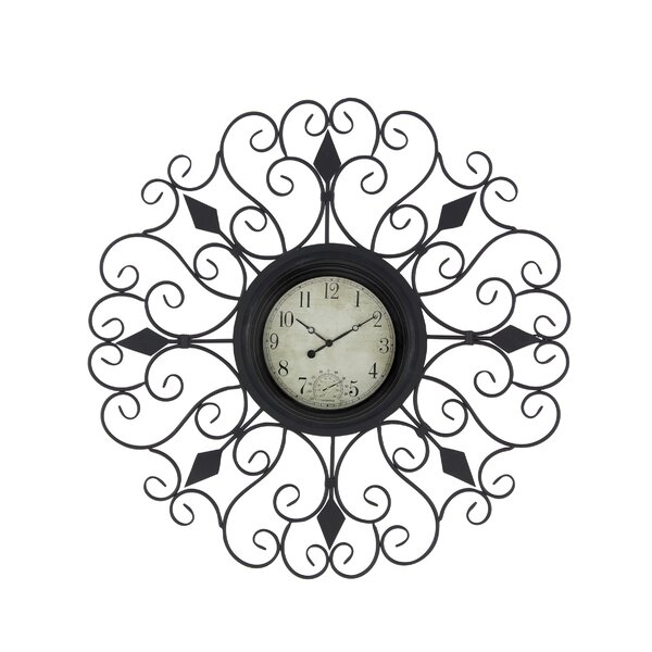 Czapla Traditional Tin Scrollwork Analog Wall Clock by Fleur De Lis Living