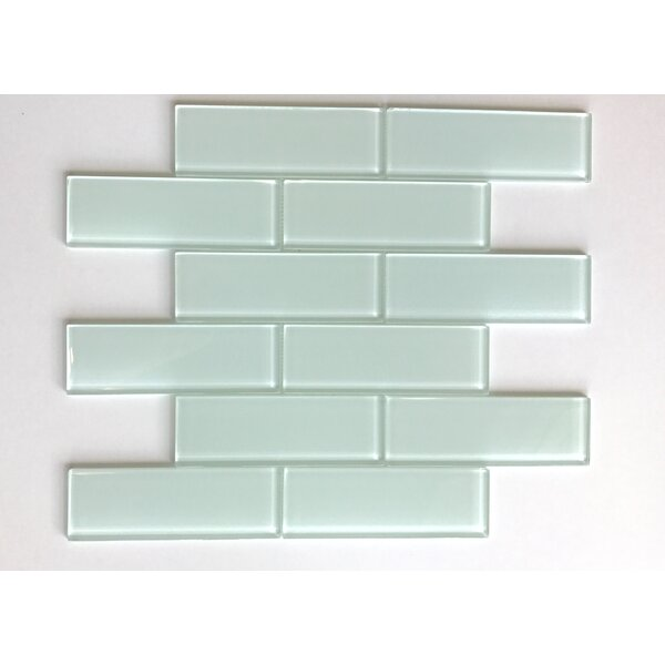Granada Meshed Glass Subway 2 x 6 Glass Mosaic Tile in White by Vetromani