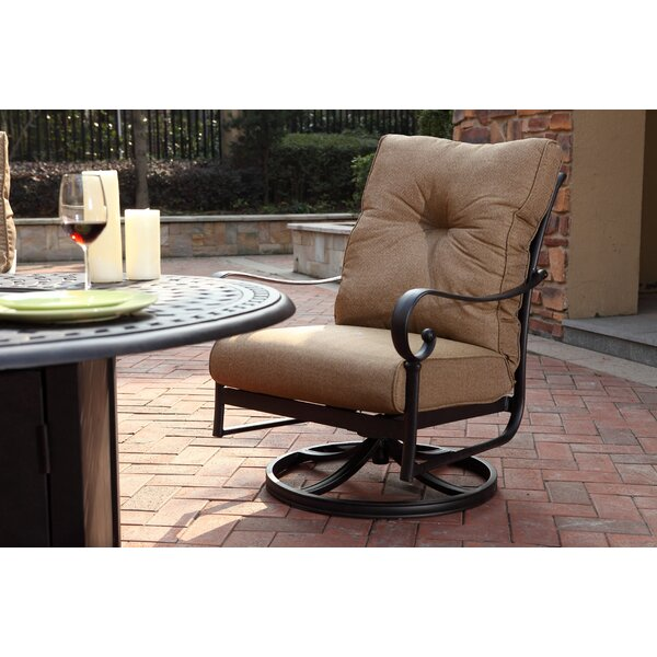 Carlitos Rocker Swivel Patio Chair with Cushions (Set of 2) by Darby Home Co