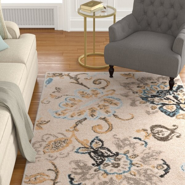Russell Cream/Blue Area Rug by Charlton Home