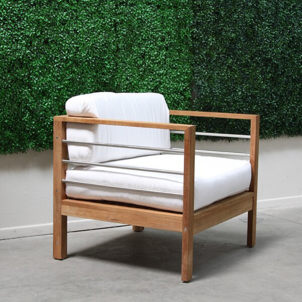 Bendel Teak Arm Chair with Cushion by Rosecliff Heights