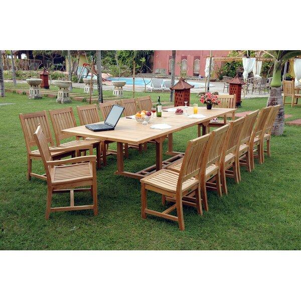 Bourg 15 Piece Teak Dining Set by Freeport Park