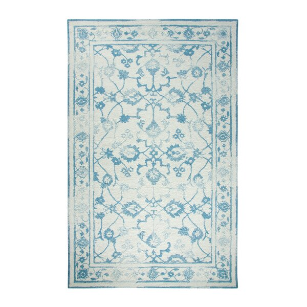 Montoya Ivory/Light Blue Area Rug by Bungalow Rose
