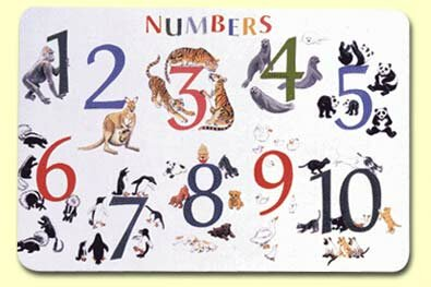 Numbers with Animals Placemat (Set of 4) by Painless Learning Placemats