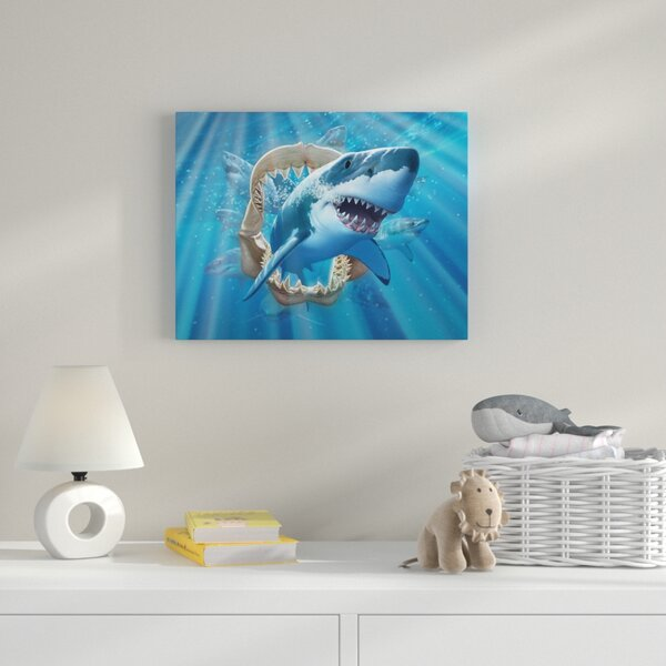 Great White Shark Graphic Art on Wrapped Canvas by Zoomie Kids