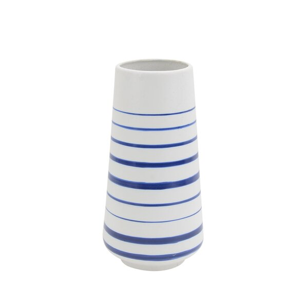 Carice Ceramic Striped Table Vase by Highland Dunes
