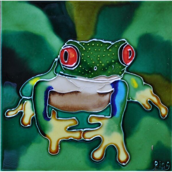 Red Eye Frog Tile Wall Decor by Continental Art Center