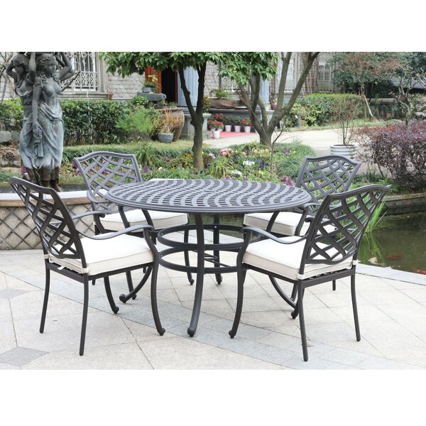 Wadena 5 Piece Dining Set with Cushions by Fleur De Lis Living