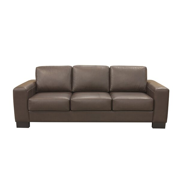 Cool Trendy Claassen Leather Sofa by Latitude Run by Latitude Run
