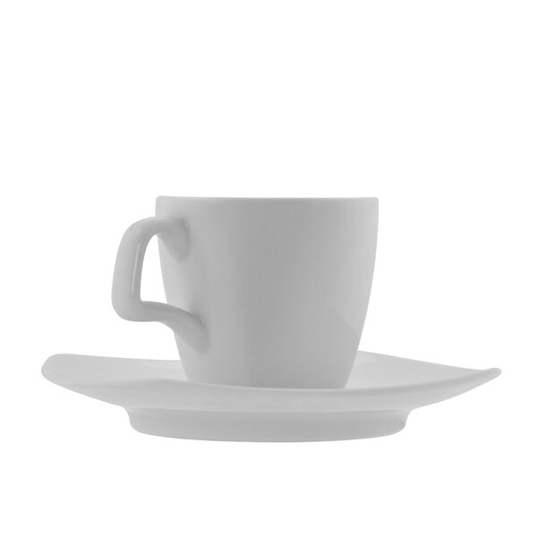 Athena Square Demi Cup and Saucer (Set of 6) by Mercury Row
