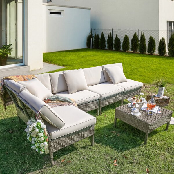 Alitta 6 Piece Sectional Seating Group with Cushions by Latitude Run
